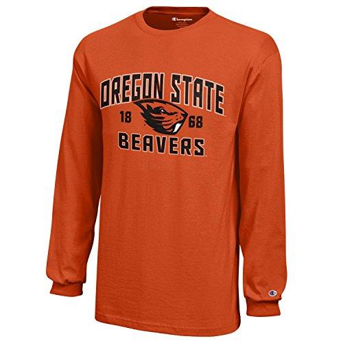 (Champion NCAA Oregon State Beavers Youth Boys Long Sleeve Jersey T-Shirt, Medium, Orange)