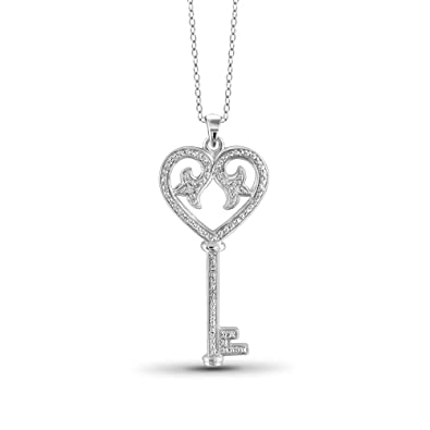 0b62eb55d0f21 Jewelexcess White Diamond Accent Sterling Silver Key and Heart Pendant