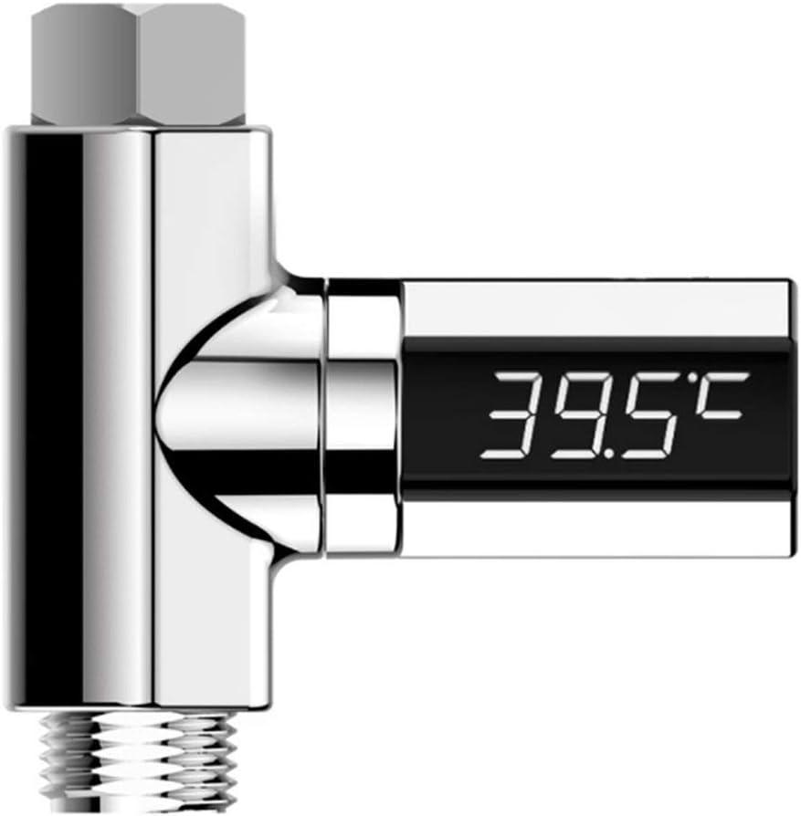 Práctica pantalla LED Agua para el hogar Ducha digital Termómetro Flujo Autogenerador Medidor de temperatura del agua Monitor Cuidado del bebé (plateado) (Togames)