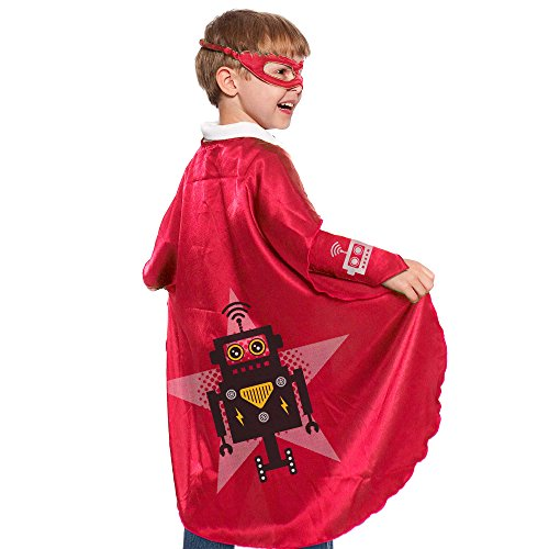 Red Robot Superhero Cape With Matching Eye Mask and (Coolest Costumes For Halloween)