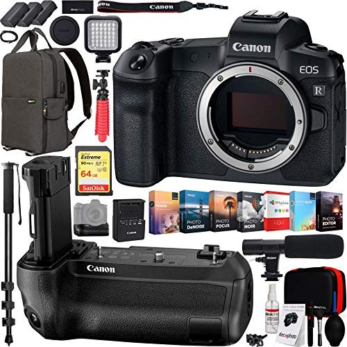 Canon EOS R 30.3MP Mirrorless Full Frame Digital Camera Body Bundle with Battery Grip, 64GB Memory Card, Backpack, Microphone, Monopod, LED Light, Editing Suite, Cleaning Kit, Tripod and Battery (Best Monopod For Dslr 2019)