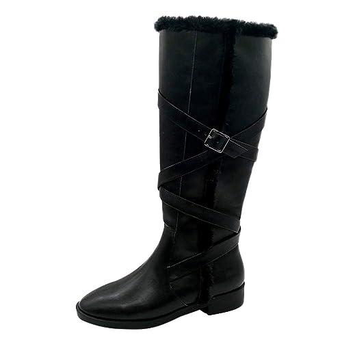Logobeing Botins Planos Botas Zapatos Retro de Mujer con Cordones de Cuero con Hebilla Cálida Mantener Cálidas Botas Altas con Punta Redonda: Amazon.es: ...