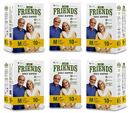 Friends Easy Adult Diapers Tape Style – 60 Count (Medium) with odour lock and Anti-Bacterial Absorbent Core- Waist Size…