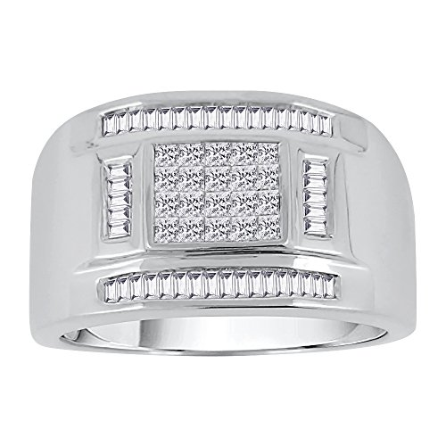 KATARINA Baguette and Princess Cut Diamond Men's Ring in Sterling Silver (3/4 cttw, G-H, VS2-SI1) (Size-14)