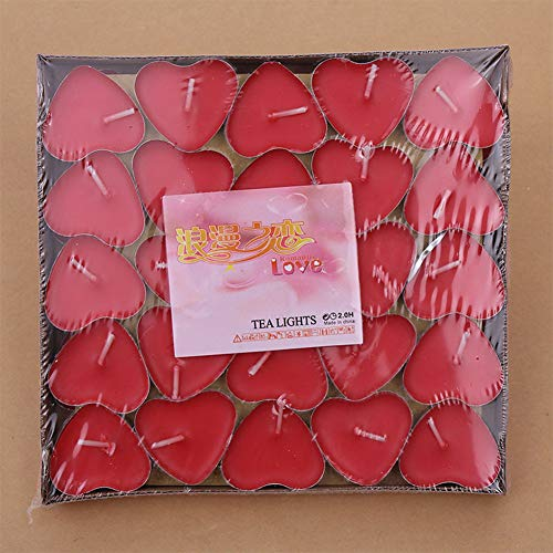 Heart Shaped Pillar Candle - Ocamo Scented Candles 50Pcs/Set Romantic Decorative Small Heart Shaped Candles Smokeless Candles for Birthday Marry Red