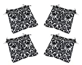 Set of 4 – Indoor / Outdoor Black & Cream Damask Scroll Universal Tufted Seat Cushions with Ties for Dining Patio Chairs – Choose Size (16″ x 16″) Review