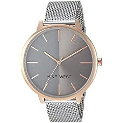 Nine West Women's Quartz Metal and Alloy Dress Watch, Color:Silver-Toned (Model: NW/1981GYRT)