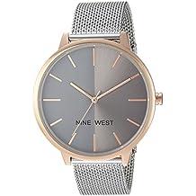 Nine West Women's NW/1981GYRT Silver-Tone Mesh Bracelet Watch