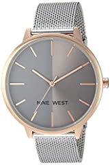 Create a look that's both polished and on-trend with this mesh strap watch from Nine West. The dial is half-matte and half-sunray for a modern look. It has a jewelry clasp closure and an extender link for easy adjustability. The lens is scrat...