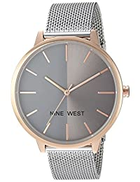 Nine West Women's NW/1981GYRT Silver-Tone Mesh Bracelet Watch