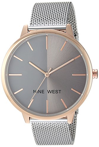 Mesh Womens Watch (Nine West Women's Quartz Metal and Alloy Dress Watch, Color:Silver-Toned (Model: NW/1981GYRT))