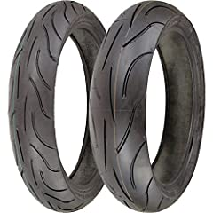 Front Tire: Synthetic rubber mix derived from MotoGP tire technology, formulated to maintain consistent performance even at advanced stages of tire wear Tread pattern covers less than 12% of the tire surface, for phenomenal cornering adhesion...