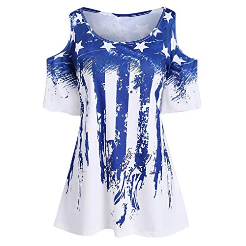 Women's Short Sleeve T Shirts, Patriotic Stripes Star American Flag Cold Shoulder Casual Blouse Top Blue