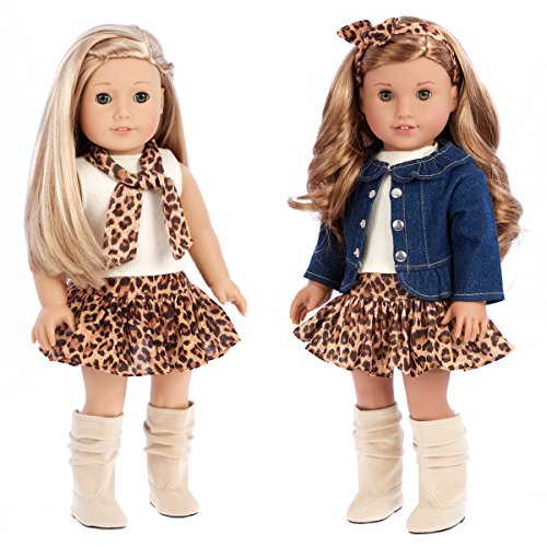 DreamWorld Collections - Adventure - 5 Piece Outfit - Jeans Jacket, Ivory Tank Top, Skirt, Scarf and Boots - Clothes Fits 18 Inch American Girl Doll (Doll Not -