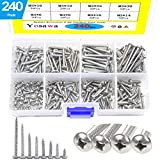 Yosawa 240-Pieces #6 Stainless Steel Phillips Pan Head Self Tapping Screw Assortment Kit (ZGM3)