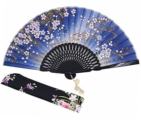 Meifan Chinese /Japanses Classical Handmade Vintage Folding Bamboo Silk Flower Pattern Hand Fan (DarkBlue)