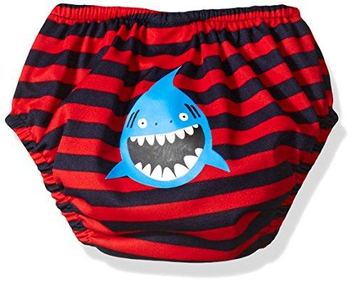 Kiko & Max Baby Boys' Absorbant Reusable Swim Diaper, Shark (Red), L