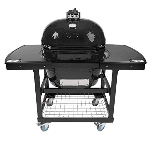Primo Oval XL 400 Ceramic Smoker Grill On Cart with 1-Piece Jack Daniel's Island Top by Primo