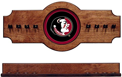 NCAA Florida State Seminoles FSUCRR100-P 2 pc Hanging Wall Pool Cue Stick Holder Rack - Pecan