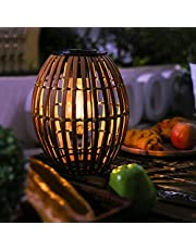 Solar Lantern Outdoor Waterproof, Natural Bamboo Rustic Lights with Edison Bulb,Decorative Solar Table Lamp for Garden Patio Tabletop Desk Home Decor