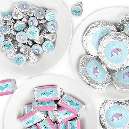 Big Dot of Happiness Narwhal Girl - Mini Candy Bar Wrappers, Round Candy Stickers and Circle Stickers - Under The Sea Baby Shower or Birthday Party Candy Favor Sticker Kit - 304 Pieces (Narwhal Baby Shower)