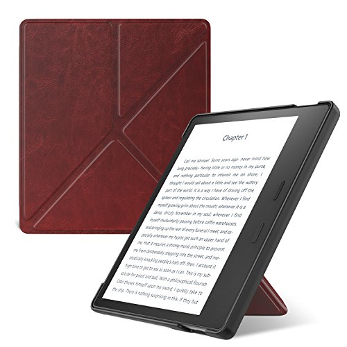 MoKo Case Fits All-New Kindle Oasis (9th and 10th Generation, 2017 and 2019 Release) ONLY, Hands-Free Slim Shell Origami Stand Protective Cover with Auto Wake/Sleep