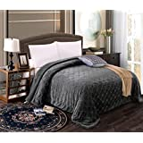 MK Home Queen/King Solid Embossed Blanket Bedspread with Sherpa Backing Reversible Cover, Grey