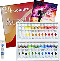 Acrylic Paint Set 24 Colors Tubes Acrylic Paints for Painting Non Toxic Paint Sets for Kids Adults Beginners Students...