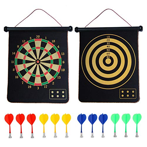 CX Magnetic Dart Board Game for Kids with 12 Magnetic Darts Safety Rollup Indoor Outdoor Games Double Sided 2 Game for Gifts from CX