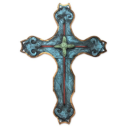NOVICA Christianity Large Steel Wall Cross, Blue, 'My Cross