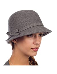 Sakkas Womens Vintage Style Wool Cloche Bucket Winter Hat with Bow Accent