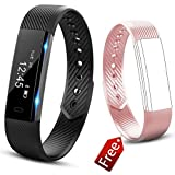 JIUXI Fitness Tracker Smart Watch Waterproof Smart Wristband Bluetooth Activity Tracker with Pedometer Sleep Monitor Calorie Counter Call Remind for Android and IOS (Black+Pink band)