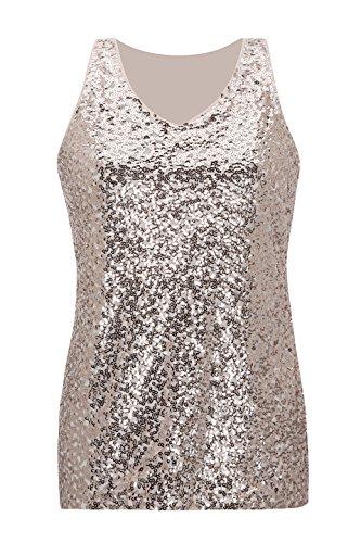 Metme Women's Gradient Sequin Tops, Sleeveless V Neck Casual Party Tank Top Sparkle Vest -