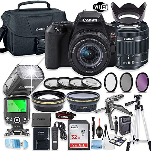Canon EOS Rebel SL3 DSLR Camera Bundle with Canon EF-S 18-55mm STM Lens + 32GB Sandisk Memory + Canon Case + TTL Flash + Accessory Bundle