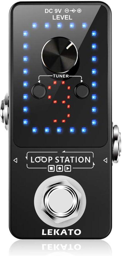 LEKATO Pedal de guitarra eléctrica Pedal de bucle 9 bucles Máximo 40 minutos Tiempo de grabación Estación de bucle de sobregrabación ilimitada con función de afinador para bajo eléctrico