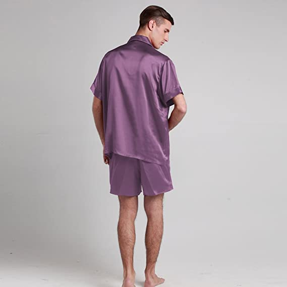 abcb9ead99 LILYSILK Men s Silk Pyjamas Shorts Set Notched Collar 22 Momme Pure Silk  Violet Size 48 XXXL  Amazon.co.uk  Kitchen   Home