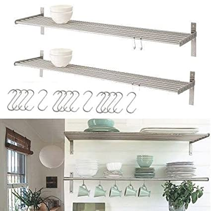 Genial Amazon.com: Set Of 2 Ikea Grundtal Stainless Steel Kitchen Shelves With 15  S Hooks: Home U0026 Kitchen