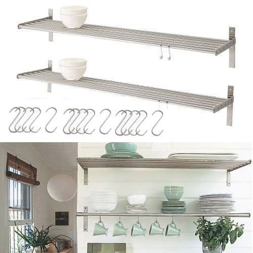 Amazon.com - Set of 2 Ikea Grundtal Stainless Steel Kitchen Shelves with 15  S Hooks -