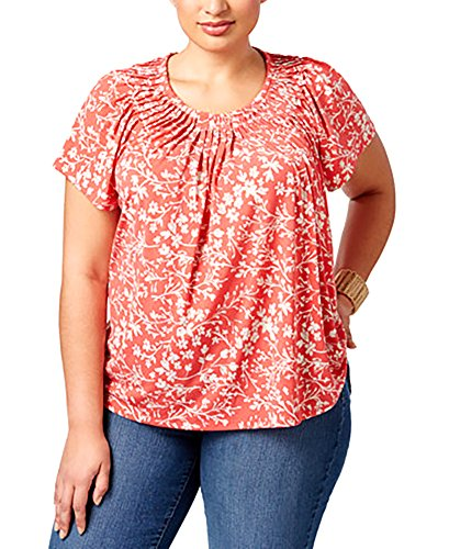 Style & Co Shirt Top (Style & Co. Plus Size Pleated-Neck Printed Top (2X))