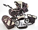 Chilly Kids iCaddy 2 in 1 Pram Combi Stroller & Pushchair (rain cover, mosquito net, beverage tray, changing mat, 49 colors) 09 Graphite & Beige & Pink