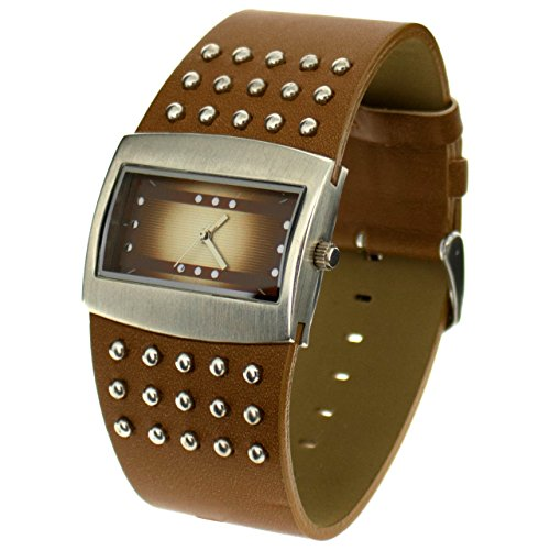 The Olivia Collection Ladies Brown Wide Studded Strap Fashion Watch NL05365 Collection Brown Dial