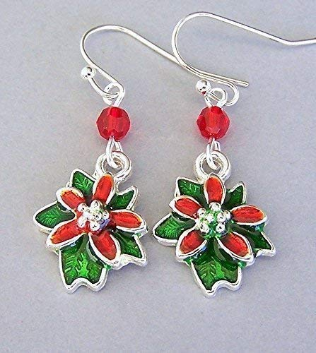 Small Poinsettia Earrings with Red Crystals, Christmas Gift for Her