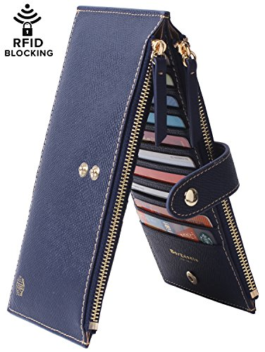 Bi Fold Exclusive Wallet - Borgasets Womens Walllet RFID Blocking Bifold Multi Card Case Wallet with Zipper Pocket Blue
