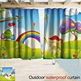 SEMZUXCVO Grommet Extra Long Curtains Cartoon Mushroom Homes Spring Sunbeams Garden Rainbow Clouds Clear Sky Kids Nursey Artwork Grommet Curtains for Bedroom W72 x L84 Multicolor