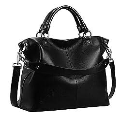 Heshe Womens Leather Shoulder Handbags Tote Double Handle Bag Ladies Purses Designer Satchel Bags Crossbody Bag Black R