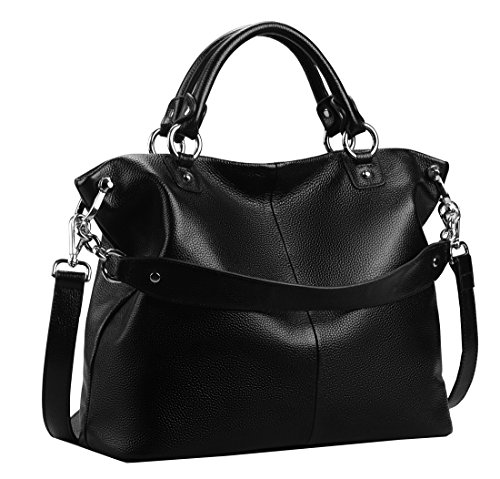 Heshe Womens Leather Shoulder Handbags Tote Double Handle Bag Ladies Purses Designer Satchel Bags Crossbody Bag (Black-r)