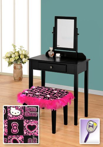 New Black Wooden Make Up Vanity Table with Mirror & Hello Kitty Themed Bench With Hot Pink Feather Style Skirt Around - Kitty Mirror Hello Princess