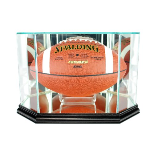 Perfect Cases NFL Octagon Football Glass Display Case, Black