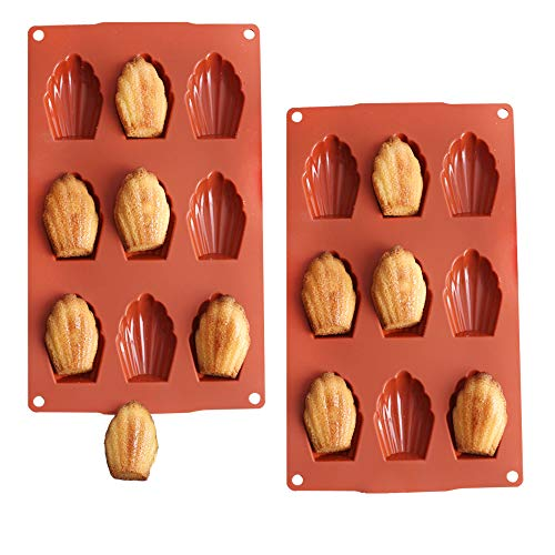 9-Cavity Silicone Homemade Madeleine Cookies, Chocolate, Candy Mold -2 Pack
