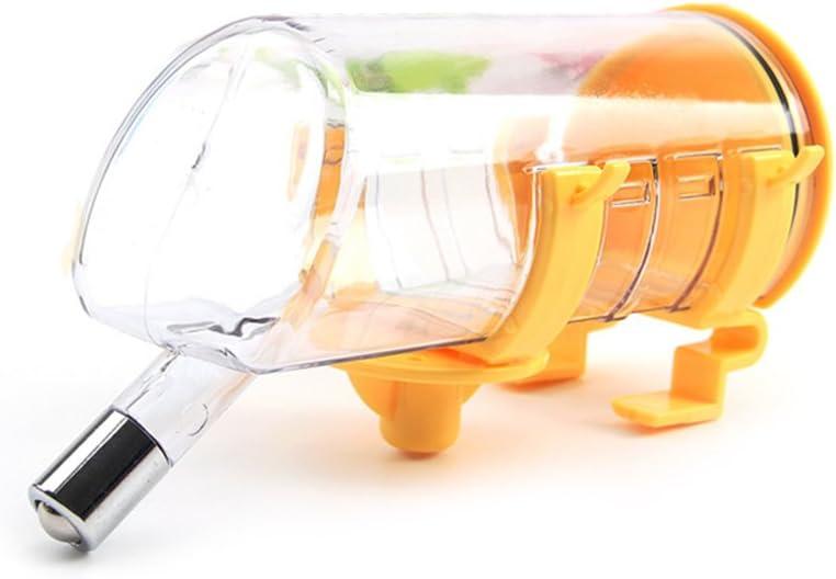 Ecloud Shop® 350ML Pet Colgando Fuente bebible Agua Duradera Botella de Bebedor con Cabeza de Acero Inoxidable No tóxico plástico Facilidad de Limpieza Amarillo